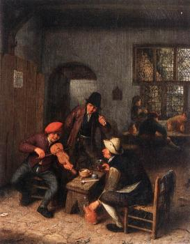 Adriaen Jansz Van Ostade : Interior of a Tavern with Violin Player